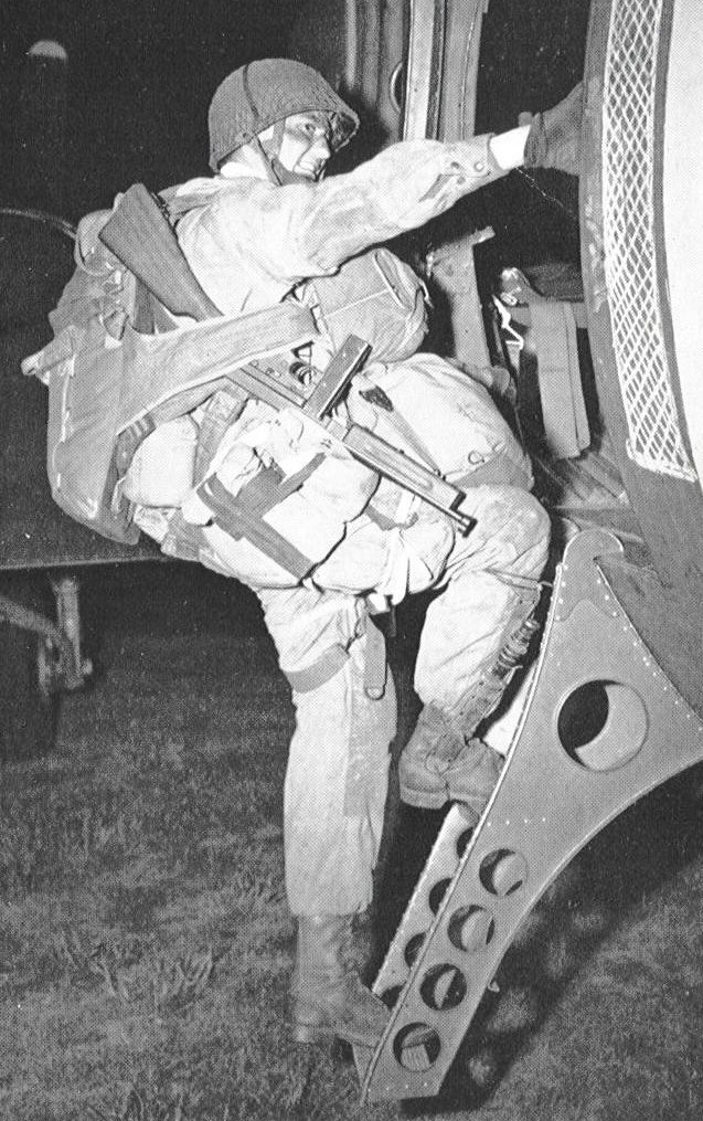 US Paratrooper emplaning for Normandy. His would have been a more aprehensive flight than young Julia's